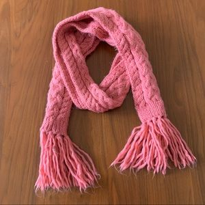 4/$20 chunky pink cable-knit tassel scarf